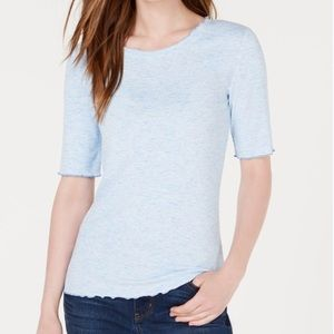 NWT Maison Jules Heathered Blue Lettuce Edge Top